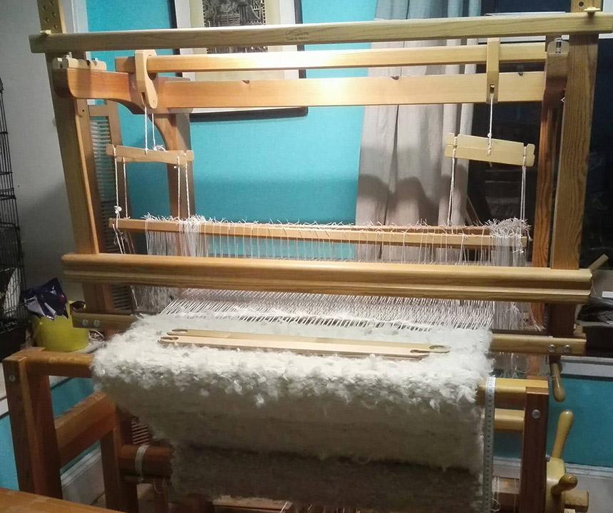 Cream Rug on the Loom